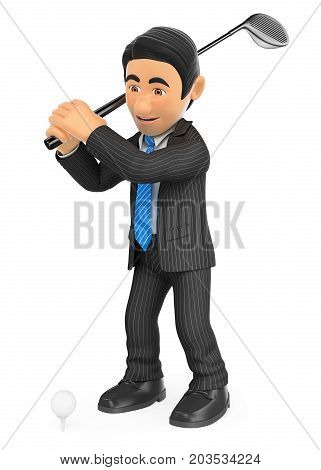 3d business people illustration. Businessman playing golf. Isolated white background.