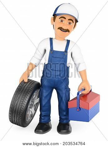 3d working people illustration. Mechanic with a tire and a toolbox. Isolated white background.