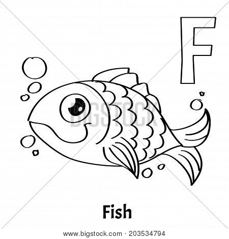 Vector alphabet letter F for children education with funny cartoon gold fish. Isolated. Learn to read. Coloring page.