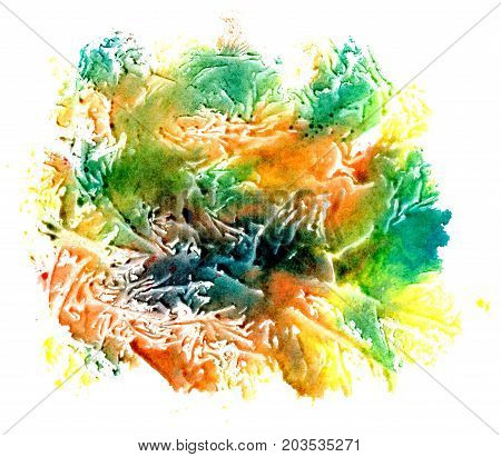 Multicolor watercolor spot isolated on a white background. Hand-drawn illustration.