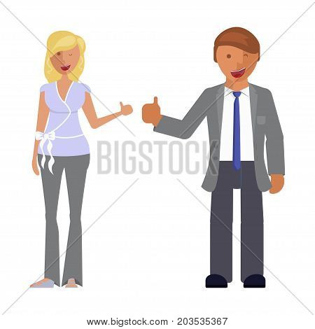 Man and woman expression. Character creation. Full length and different face and body emotion portraits on white background. Build your own design. Vector illustration eps 10