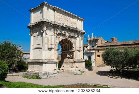 The Arch of Titus is a 1st-century honorific arch located on the Via Sacra, Rome, just to the south-east of the Roman Forum.