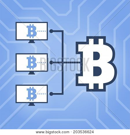 How Work Cryptocurrency Network Flat Scheme Illustration. Computers With Bitcoin Sign On Chipset Bac