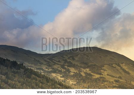 Mountain landscape in the evening before sunset. Sheregesh