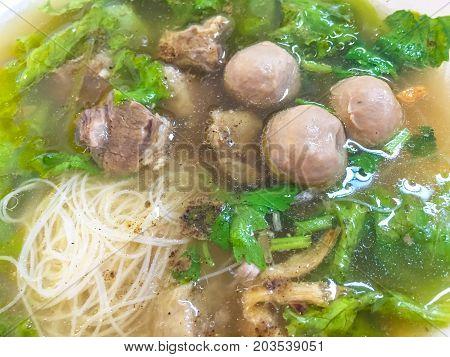 Noodles braised pork thai food in thailand