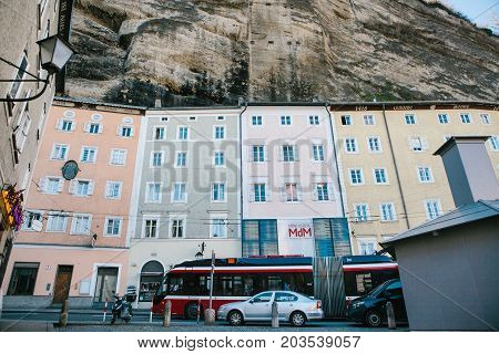Austria, Salzburg, January 1, 2017: Traditional Austrian multicolored houses in the rock in Salzburg. Austrian architecture of building houses. Salzburg. The fourth largest city in Austria. Europe.