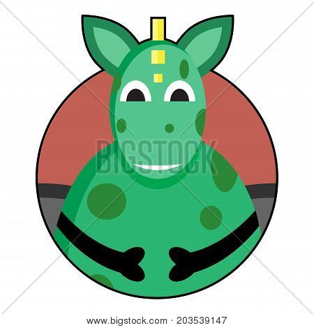 Dragon icon avatar. Vector dragon or dinosaur cartoon cute monster dragon illustration
