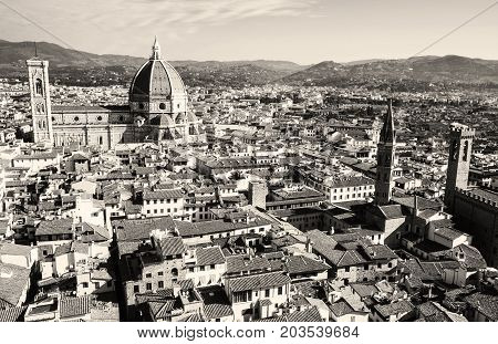 Florence cityscape. Beautiful cultural city in Tuscany Italy. Black and white photo.