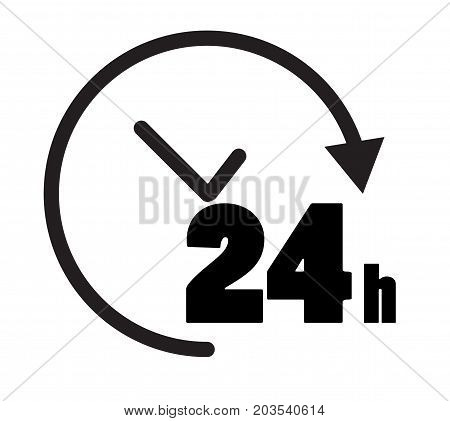 24 hours icon on white background. open 24 hours symbol. 24 hours sign.