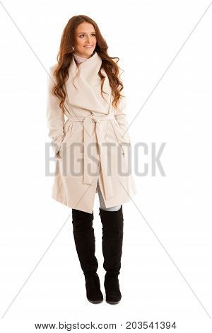 Young Business Woman In Winter Coat Isolated Over White Background