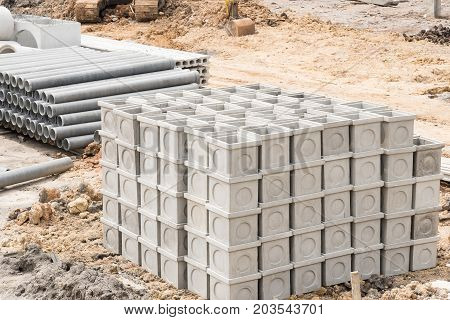 Stack of materials for construction in workplace.
