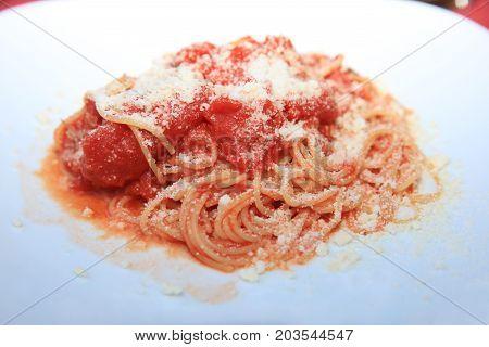 Spaghetti Pomodoro - italian Pasta in Sicily. Italy