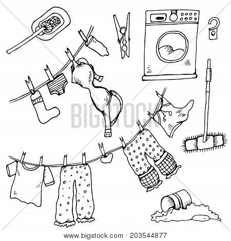 Set of clothes. The laundry is dried in the fresh air. Vector illustration. Funny things are added to the clothesline. Cheerful illustration for design with humor.