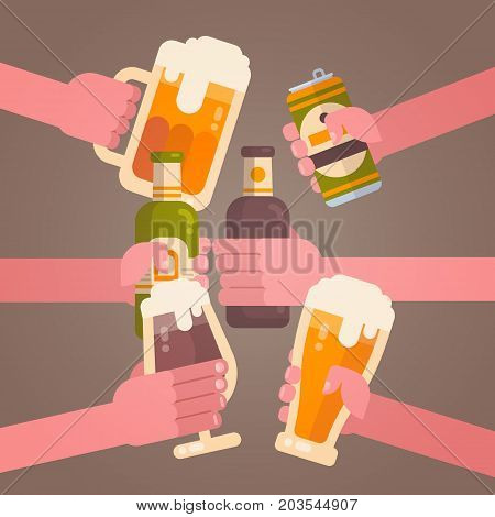 People Hands Clinking Beer Cheering Party Celebration Festival Concept Flat Vector Illustration