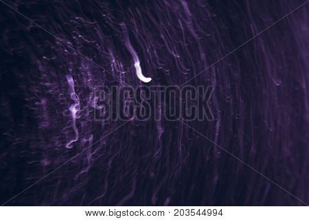 Abstract picture of white lines in motion on black background. Bokeh of defocused curves spinning into spiral, blurred neon leds, similar to rocket signal, mayday, help concept backdrop