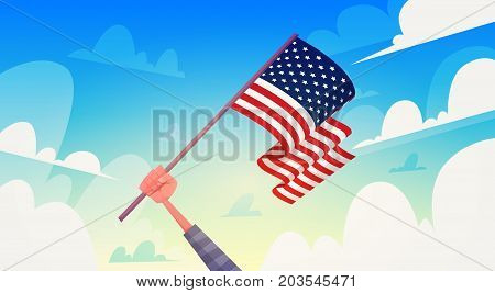 Hand Holding USA Flag Over Blue Sky National Patriot Day United States Holiday Banner Flat Vector Illustration