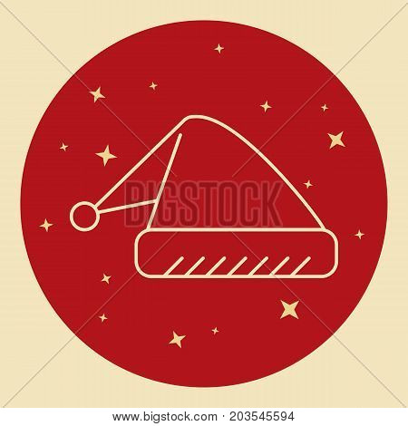Santa hat icon in thin line style. Traditional symbol in round frame.
