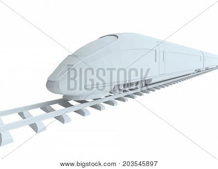 White high-speed train, isolated on white background. 3d illustration