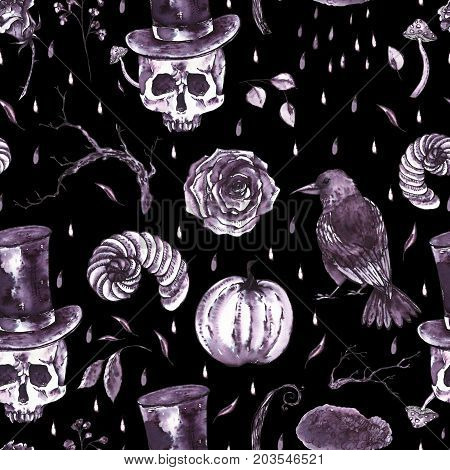 Monochrome watercolor hand drawn seamless pattern with skull, horns, dry twigs, fly agarics, raven and vampire hat. Black and white illustration on black background.