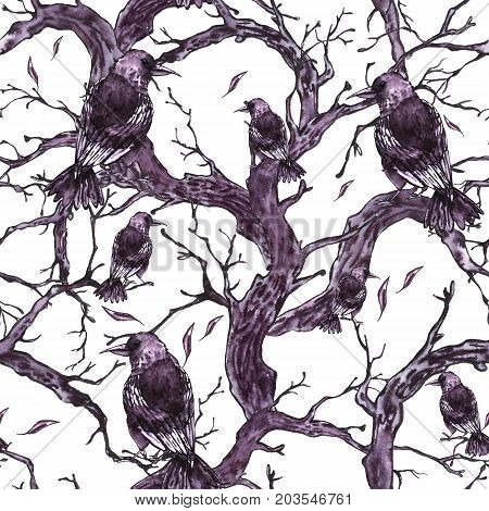 Monochrome watercolor hand drawn seamless pattern with tree branches, twigs and raven. Natural texture. Black and white illustration on white background.