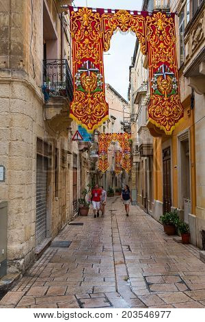 Streets Of Valletta During A Religious Feast