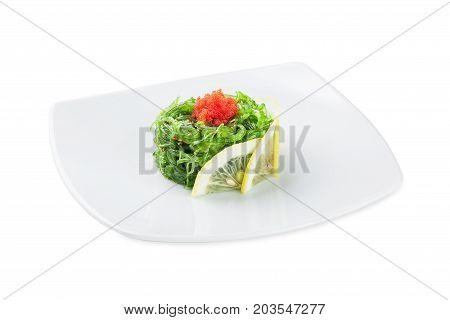 Traditional Japanese Chuka Seaweed Salad (hiyashi Wakame) Isolated On White