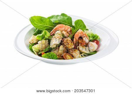 Seafood Sarada,salad Plate - Isolated On White