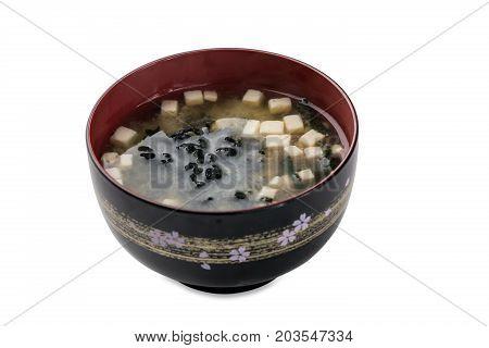 Miso Siru - Soup With Tofu, Wakame Seaweed Bowl Isolated On White