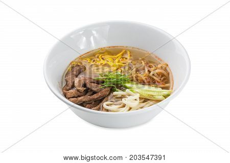 Samui Siru - Beef Noodle Soup Bowl Isolated On White