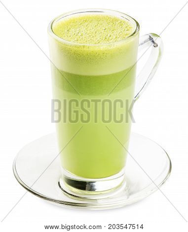 Glass Of  Green Tea Smoothie Isolated On White Background.