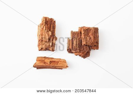 Rotten Wood On A White Background. Place For Text.