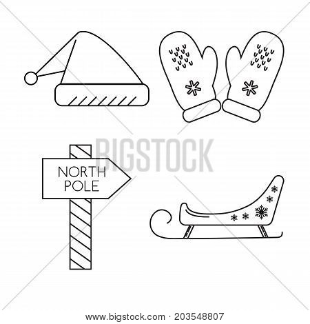 Collection of Christmas icons in thin line style. Santa sleigh, hat, mittens and North Pole waypost symbols isolated on white background.