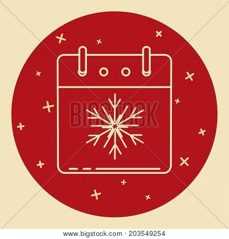 Christmas of New Year calendar icon in thin line style. Calendar page with snowflake symbol for winter holidays. Modern icon in round frame.