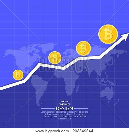 The schedule of growth of cryptocurrency Bitcoin against the background of the world map.The concept of global growth of cryptocurrency in the world.Vector illustration in flat style.