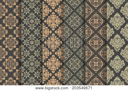 Set of 6 vector seamless patterns. Luxury elegant textures of baroque style. Regularly repeating abstract seamless wallpapers. Can be used as background fabric textile print wrapping paper and more.