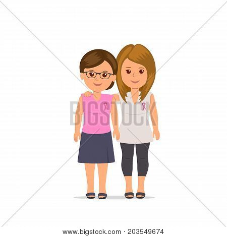 Women girlfriends with pink ribbons standing in embrace. Woman activist community awareness of breast cancer. Health care concept. Vector illustration in flat style.