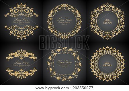 Circular baroque patterns. Round floral ornaments. Vintage frame. Greeting card. Wedding invitation. Retro style. Monogram decorative frames. Vector logo template labels and badges. set
