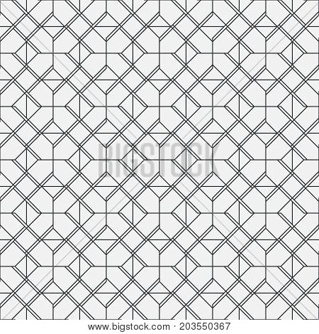 Vector seamless pattern. Modern geometrical texture with regularly repetition rhombus linear tiles. Thin line. Trendy design.