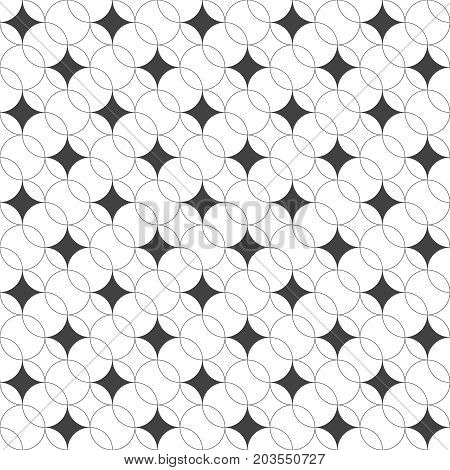 Vector seamless pattern. Modern geometrical texture with regularly repetition crossed outline circles which form ovals rhombuses. Trendy design. Contemporary background