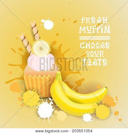 Fresh Muffin Choose Your Taste Logo Cake Sweet Beautiful Cupcake Dessert Delicious Food Flat Vector Illustration