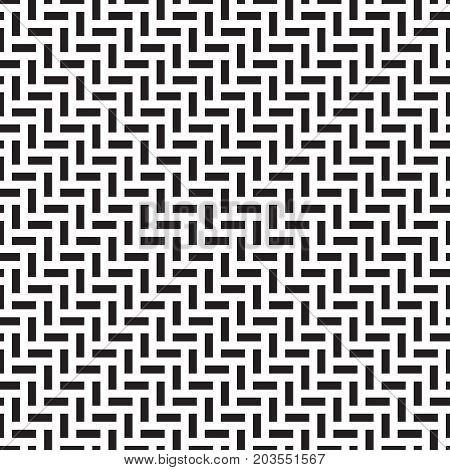 Seamless brickwork herringbone pattern background in black and white