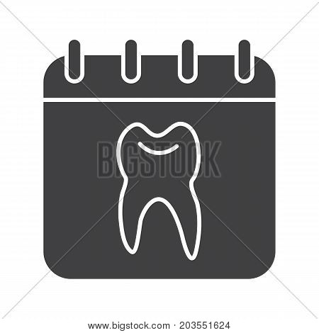 Dentist reception days schedule glyph icon. Silhouette symbol. Calendar page with human tooth inside. Negative space. Vector isolated illustration