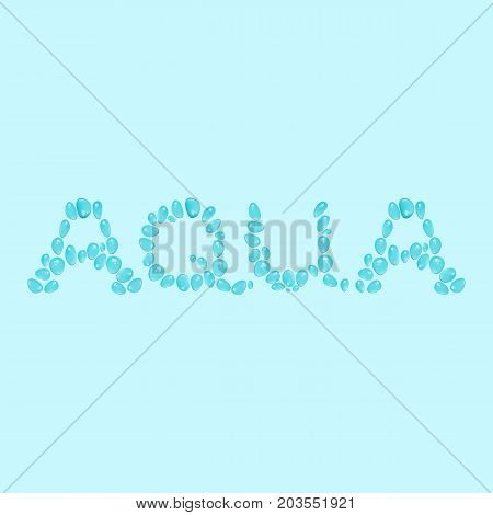 Vector word aqua made of water drops, logotype or brand name, for advertisement, background. Clear water production symbol