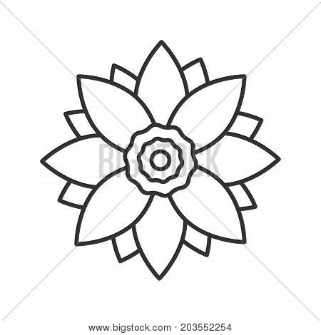 Lotus flower linear icon. Flowering plant thin line illustration. Relaxing, meditation, spa contour symbol. Vector isolated outline drawing