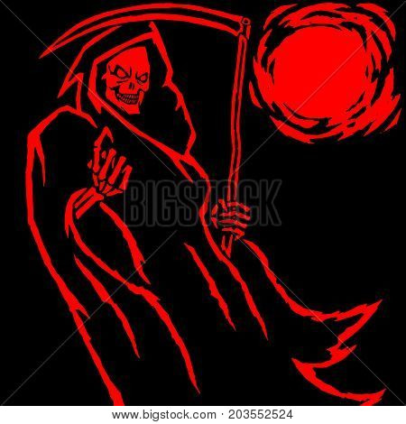 Red death vector illustration. Spooky apocalypse demon. Spirit rock skull. Ghost skeleton. Nightmare terrible mouth. Massacre phantom monster.