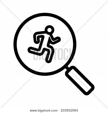 Running man inside loupe linear icon. Thin line illustration. Magnifying glass with runner contour symbol. Vector isolated outline drawing