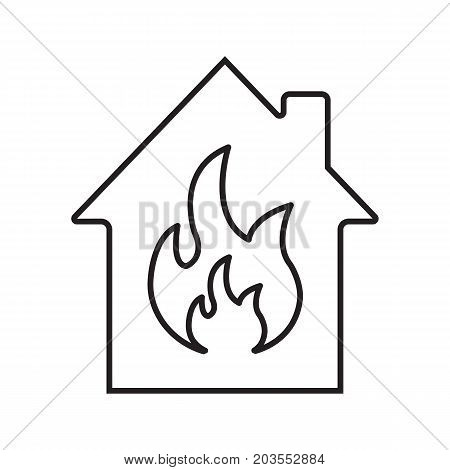 Burning house linear icon. Fire safety thin line illustration.Home protection. House with flame inside. Fire alarm system. Vector isolated outline drawing. Fire alarm contour symbol