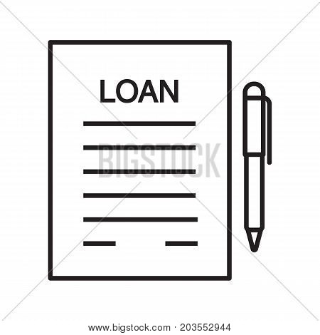 Loan agreement, contract linear icon. Mortgage document thin line illustration. Loan paper with pen contour symbol. Commercial real estate deal. Vector isolated outline drawing