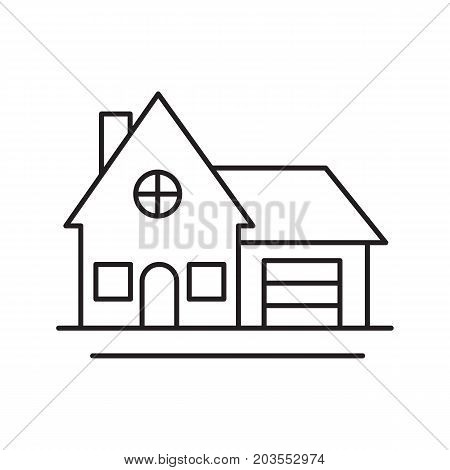 Cottage, family house, residence linear icon. Real property thin line illustration. Accommodation, home and private apartment contour symbol. Vector isolated outline drawing