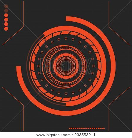 Red Sci fi futuristic user interface. abstract hexagon pattern. Abstract vector background. The interface of the future. in the style of flat